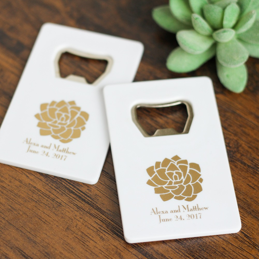 Personalized Succulent Credit Card Bottle Opener Favors