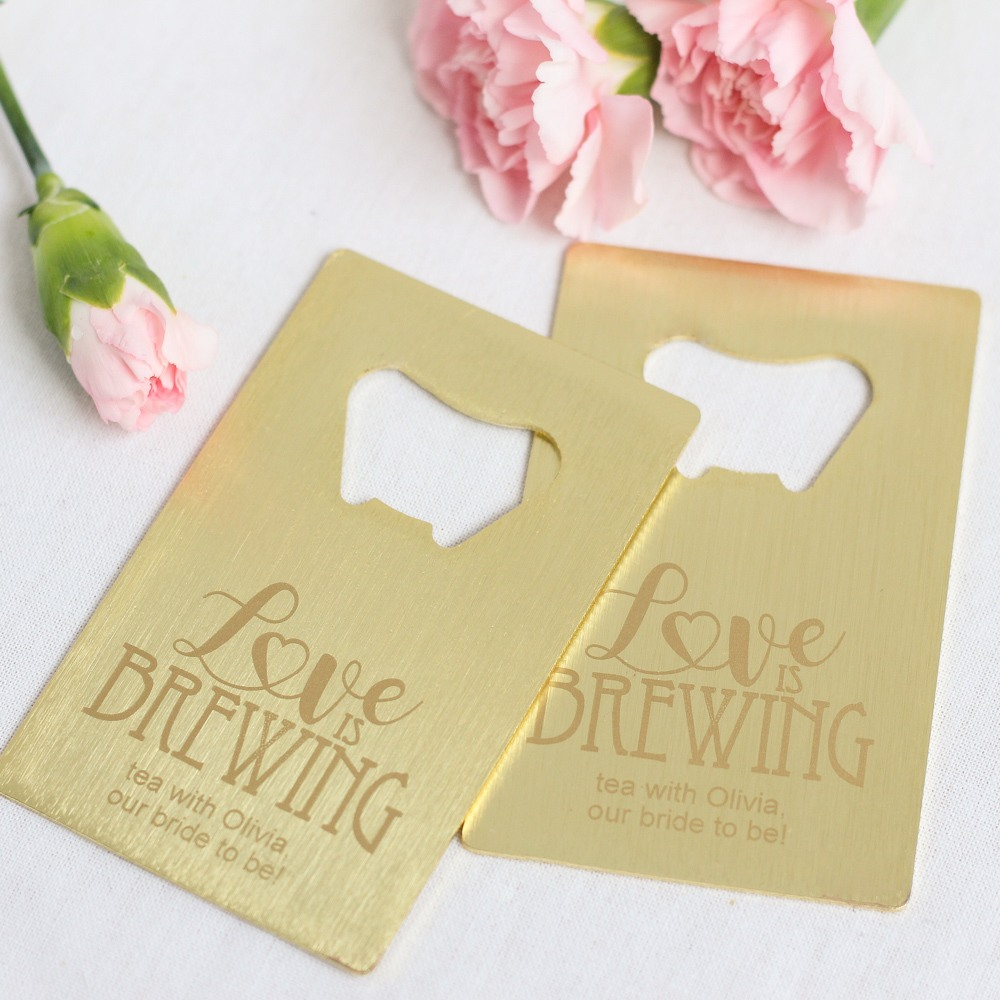 Personalized Love is Brewing Credit Card Bottle Opener Favors