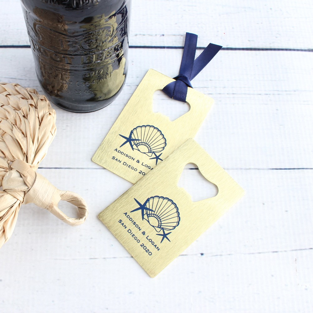 Personalized Seashell Credit Card Bottle Opener Favors
