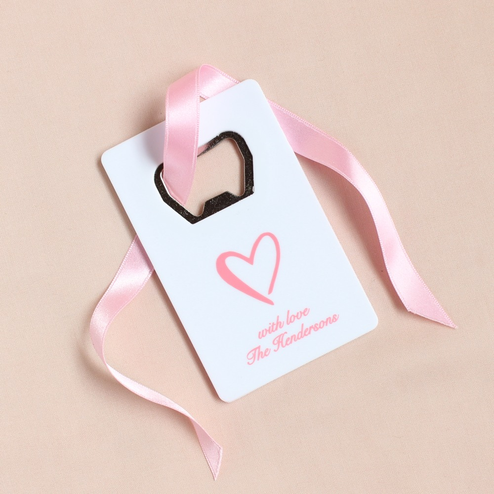 Personalized Heart Credit Card Bottle Opener Favor