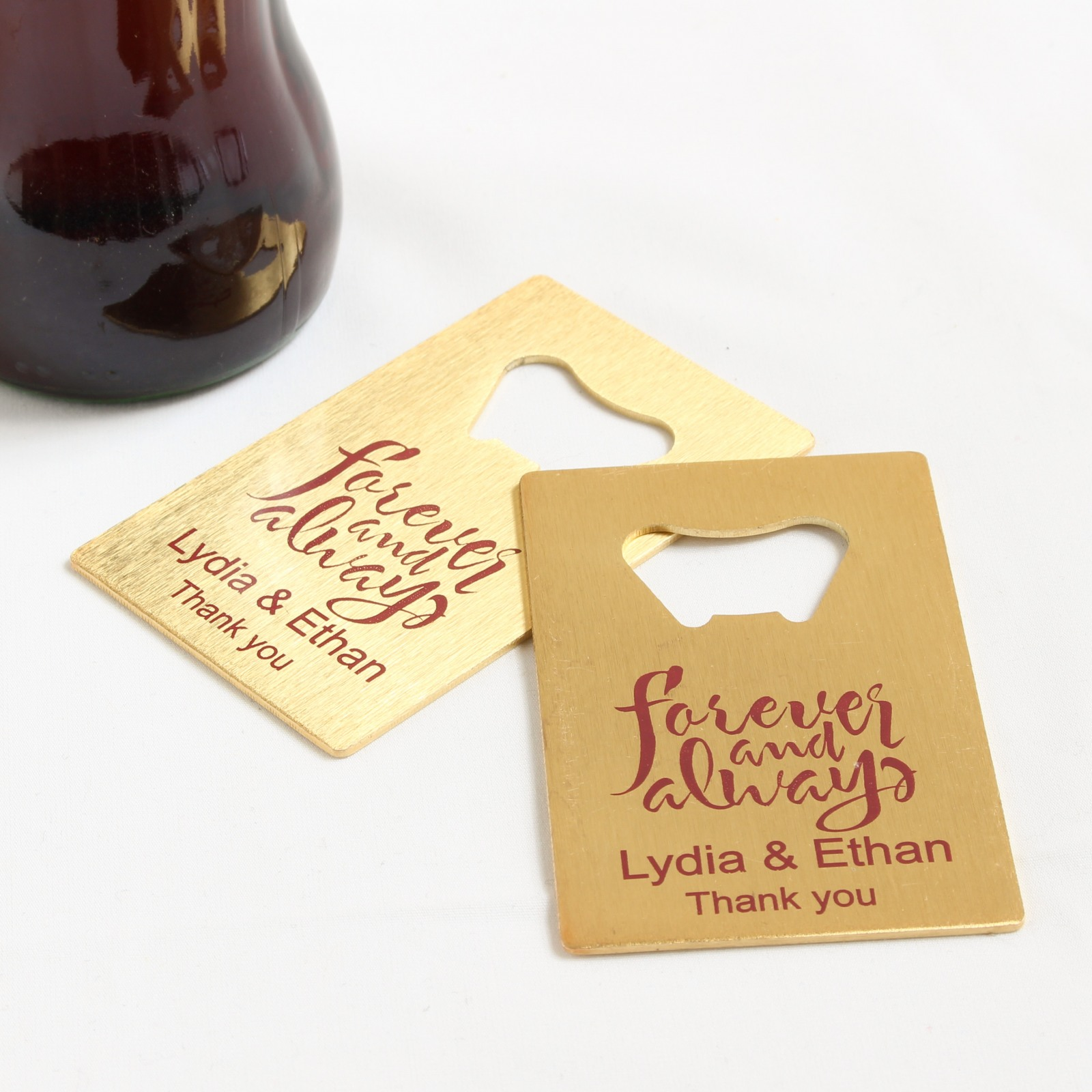 Personalized Forever Always Credit Card Bottle Openers