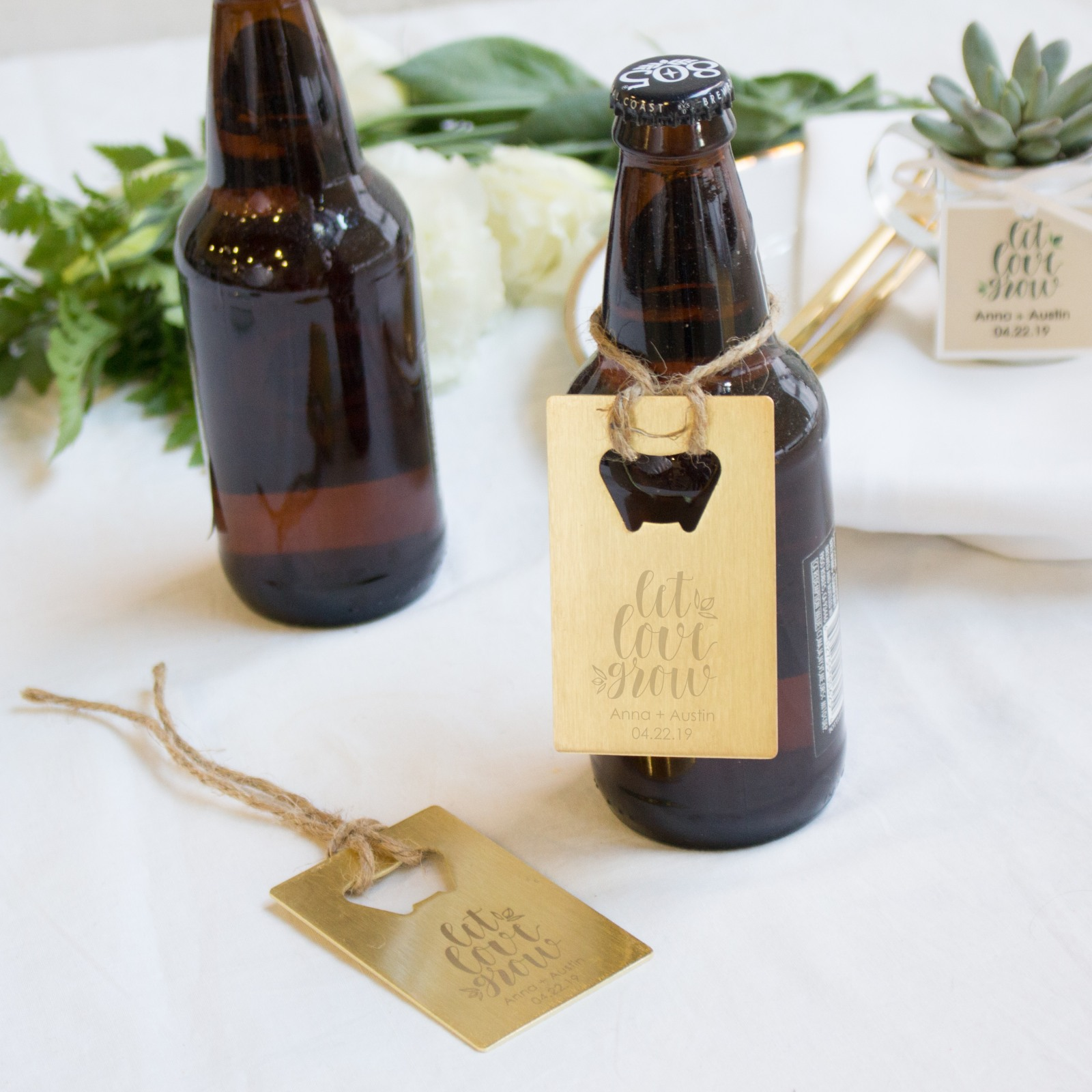 Personalized Let Love Grow Credit Card Bottle Opener Favors