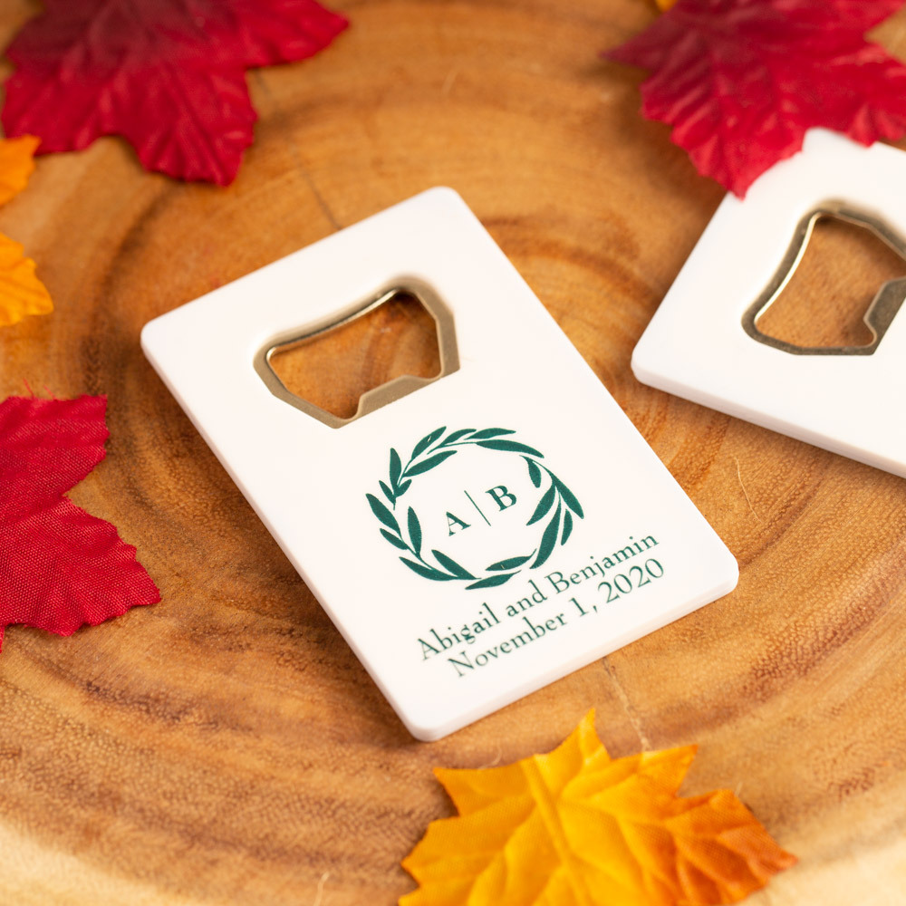 Personalized Fall Harevest Credit Card Bottle Opener Favors
