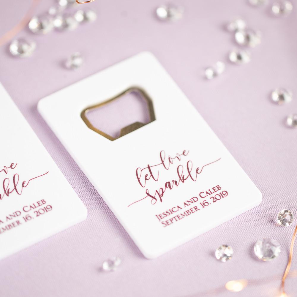 Personalized Let Love Sparkle Credit Card Bottle Opener Favors