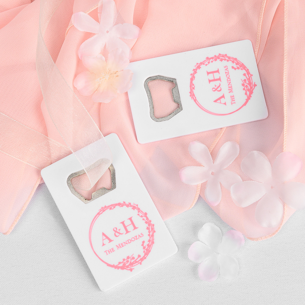 Personalized Cherry Blossom Credit Card Bottle Opener Favors