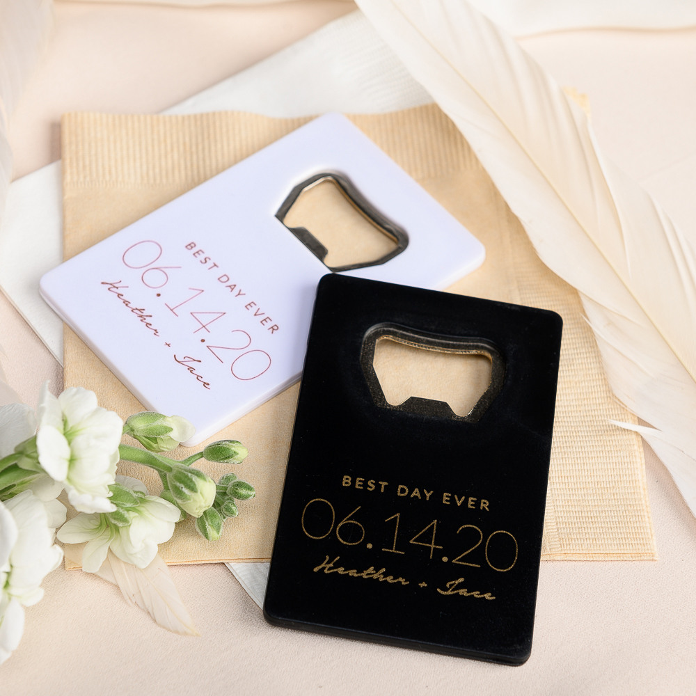 Personalized Wedding Date Credit Card Bottle Opener Favors
