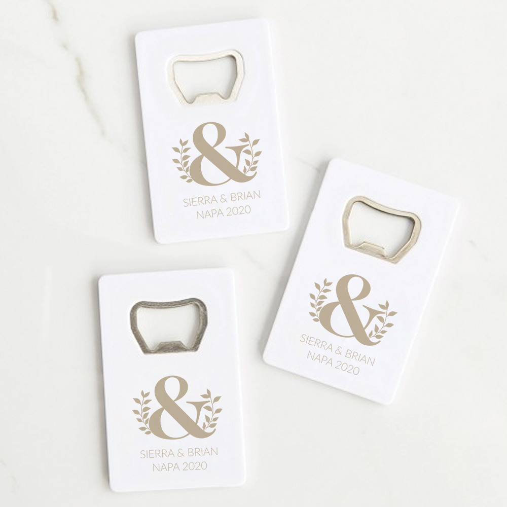 Personalized Eco Ampersand Credit Card Bottle Opener Favors