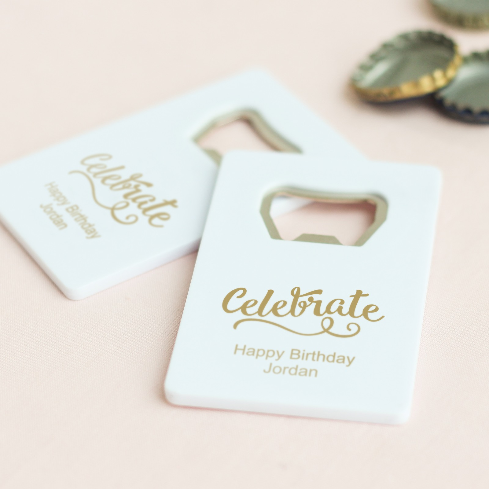 Personalized Celebrate Credit Card Bottle Opener Favors