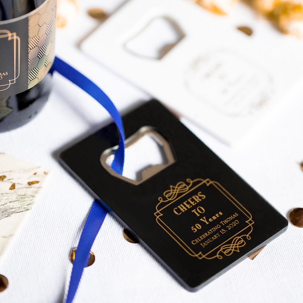 Personalized Vintage Cheers Birthday Credit Card Bottle Opener Favors
