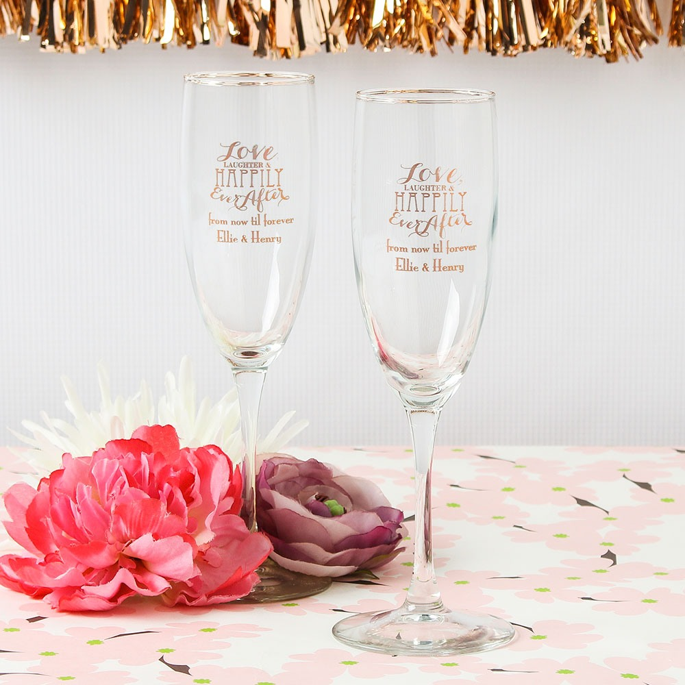 Personalized Love Laughter Champagne Flute Favors
