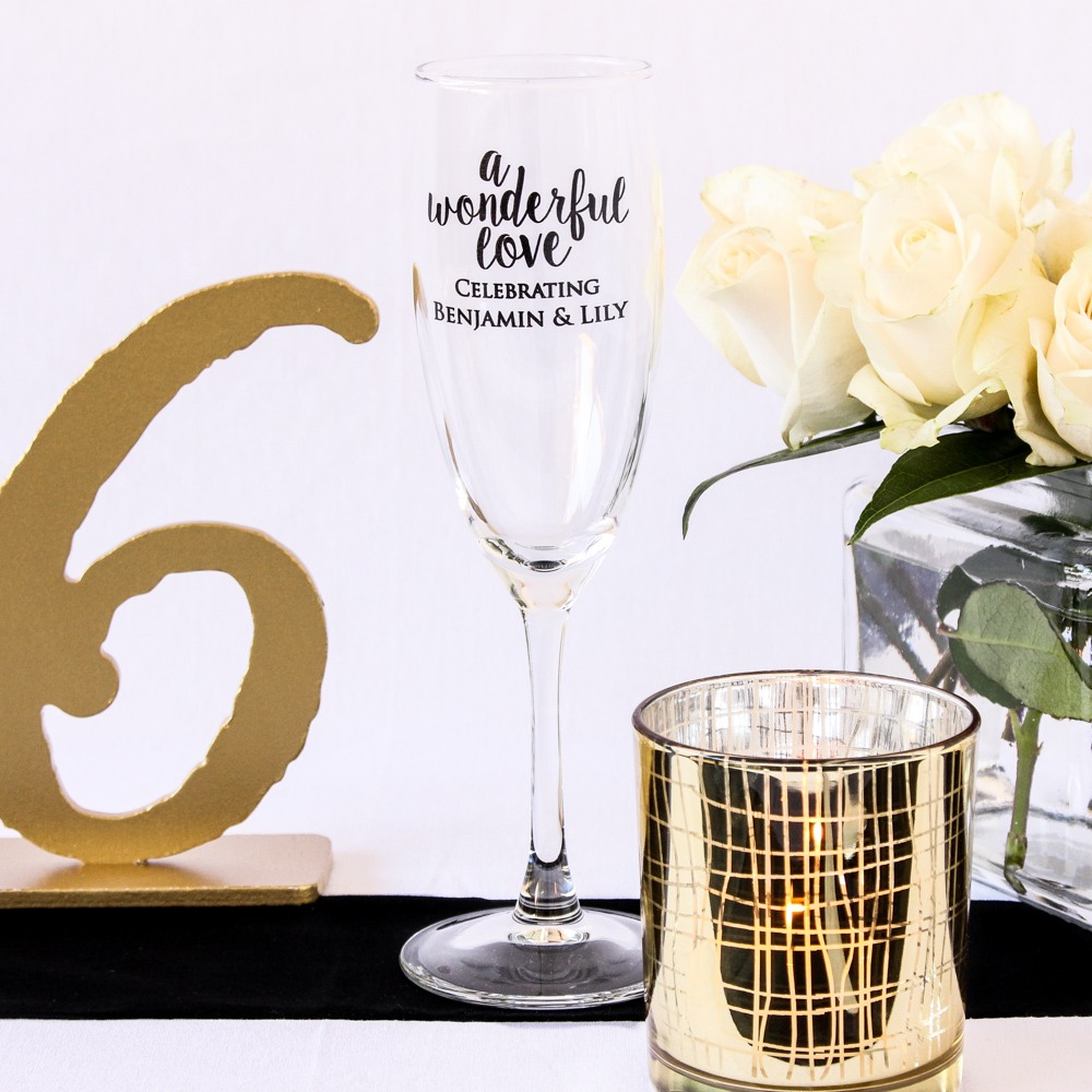 Personalized Wonderful Love Champagne Flutes
