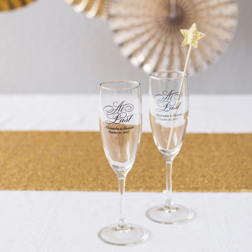 Personalized At Last Champagne Flutes