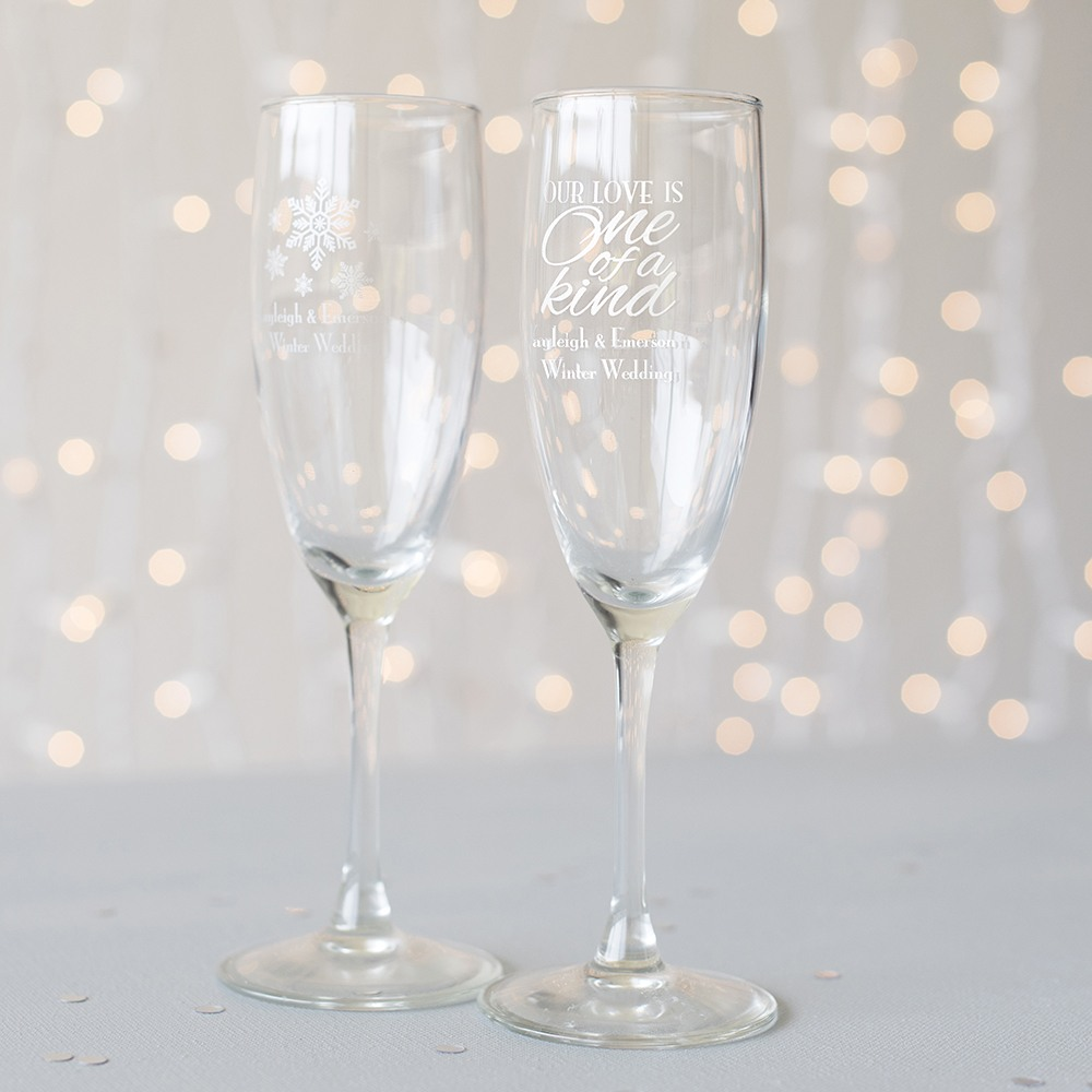 Personalized Winter Themed Champagne Flutes