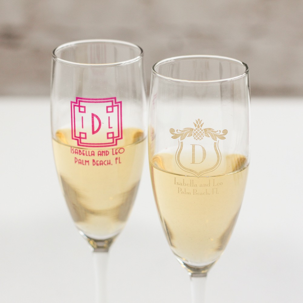 Personalized Tropical Champagne Flute
