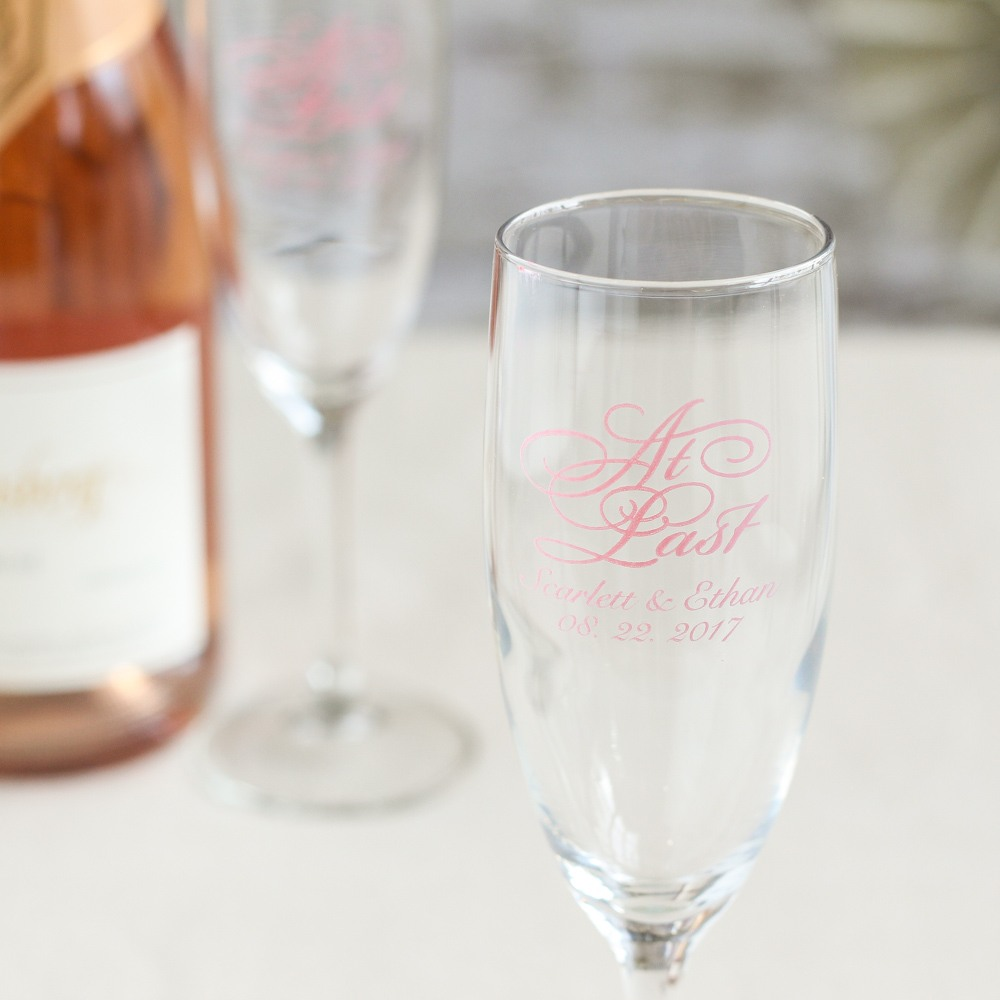 Personalized At Last Champagne Flute