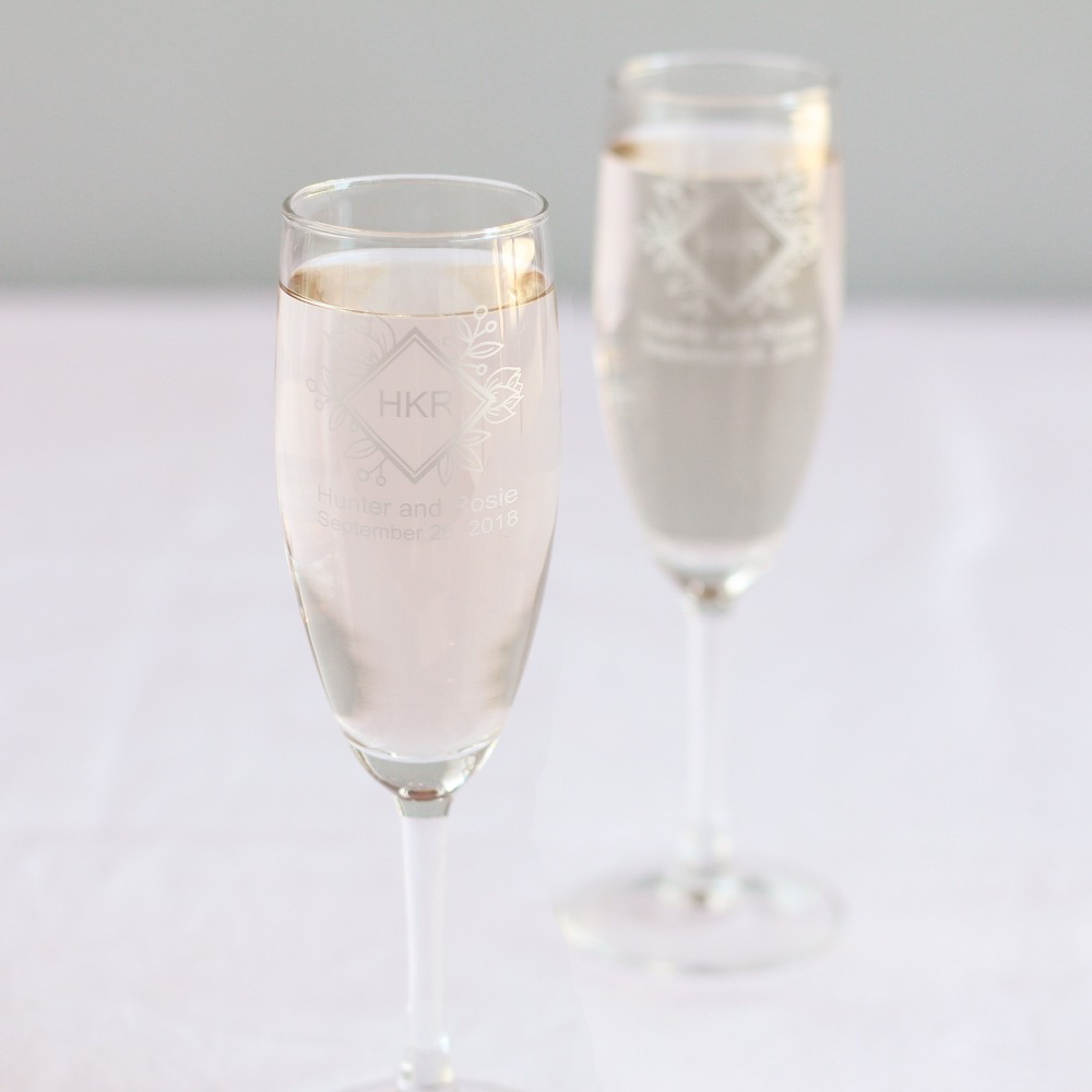 Personalized Floral Diamond Champagne Flute Favors