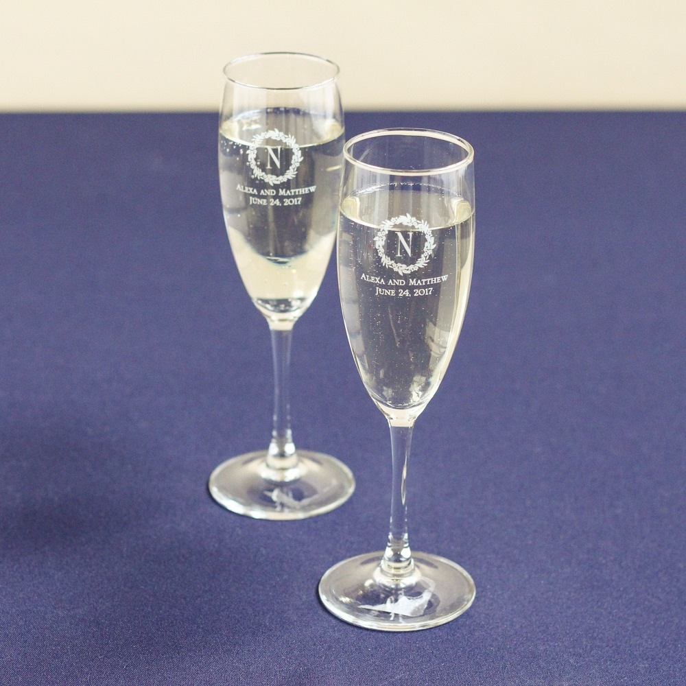 Personalized Modern Luxe Champagne Flute Favors