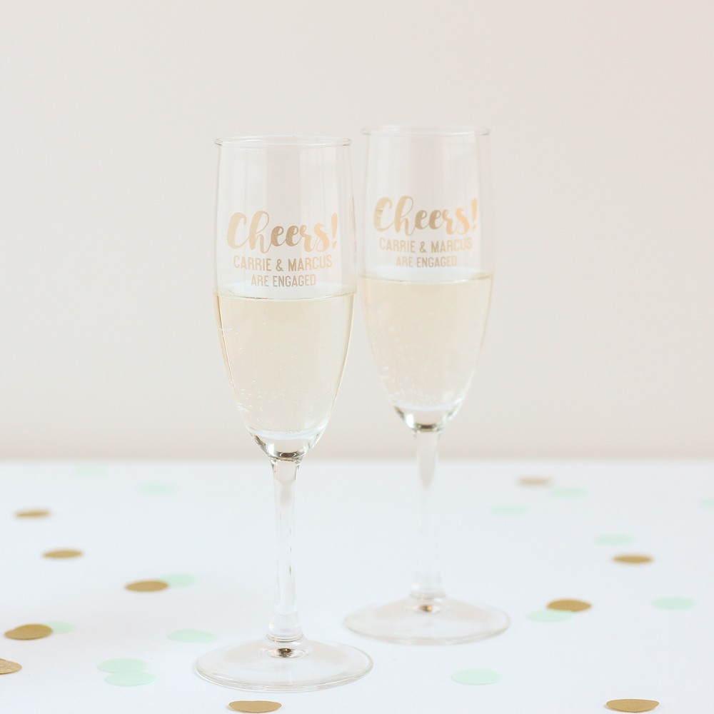 Personalized Cheers Champagne Flute Favors