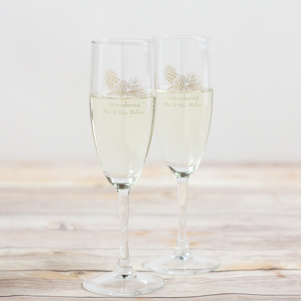 Personalized Pinecone Champagne Flute Favors