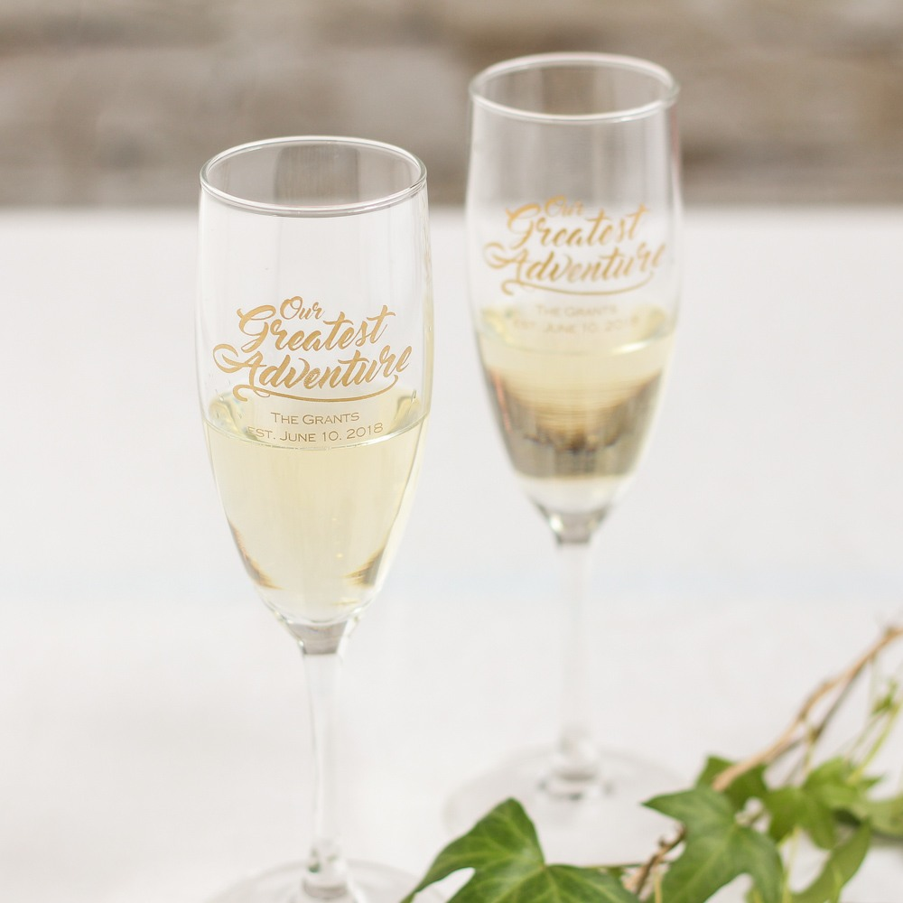 Personalized Greatest Adventure Champagne Flutes