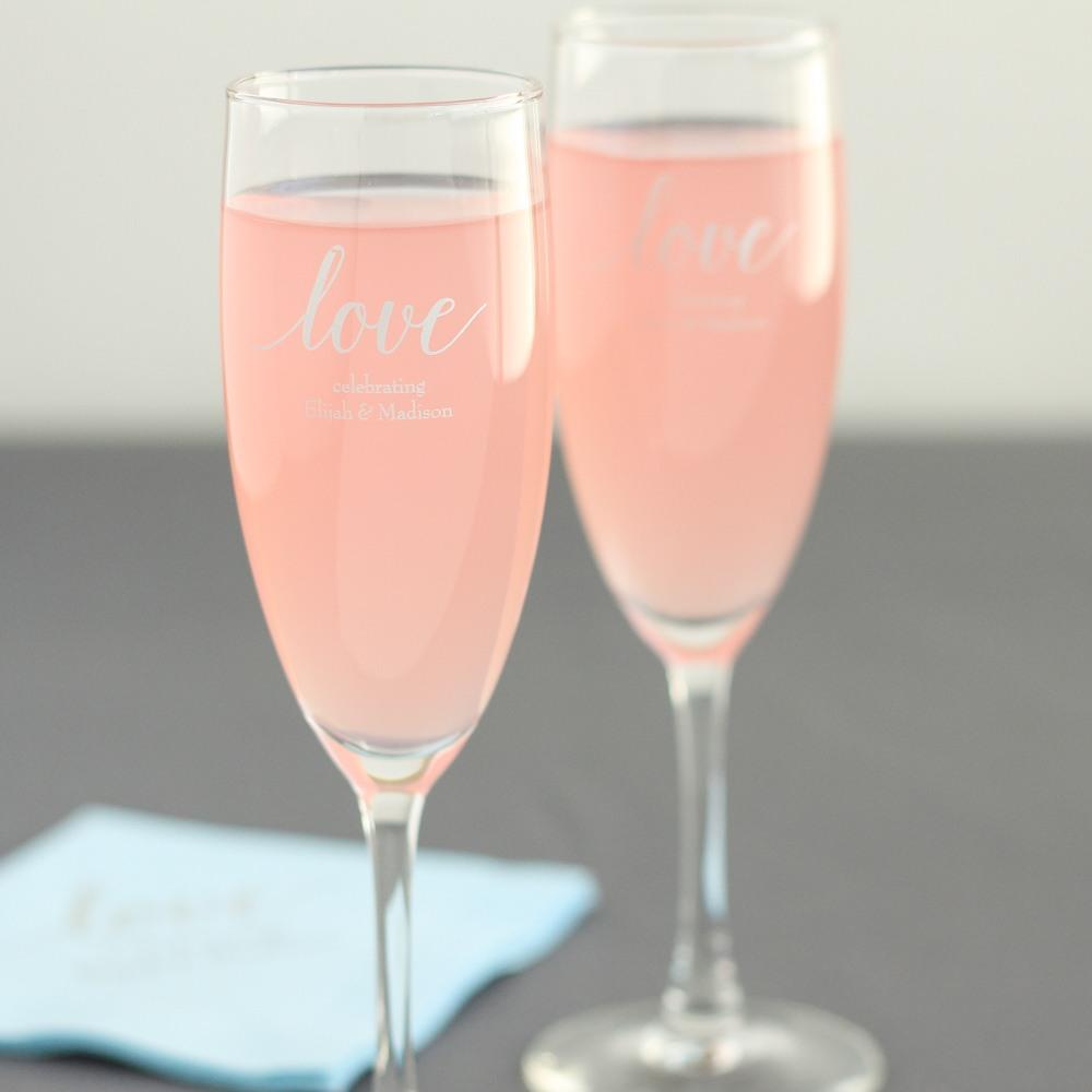 Personalized Love Script Champagne Flute Favors