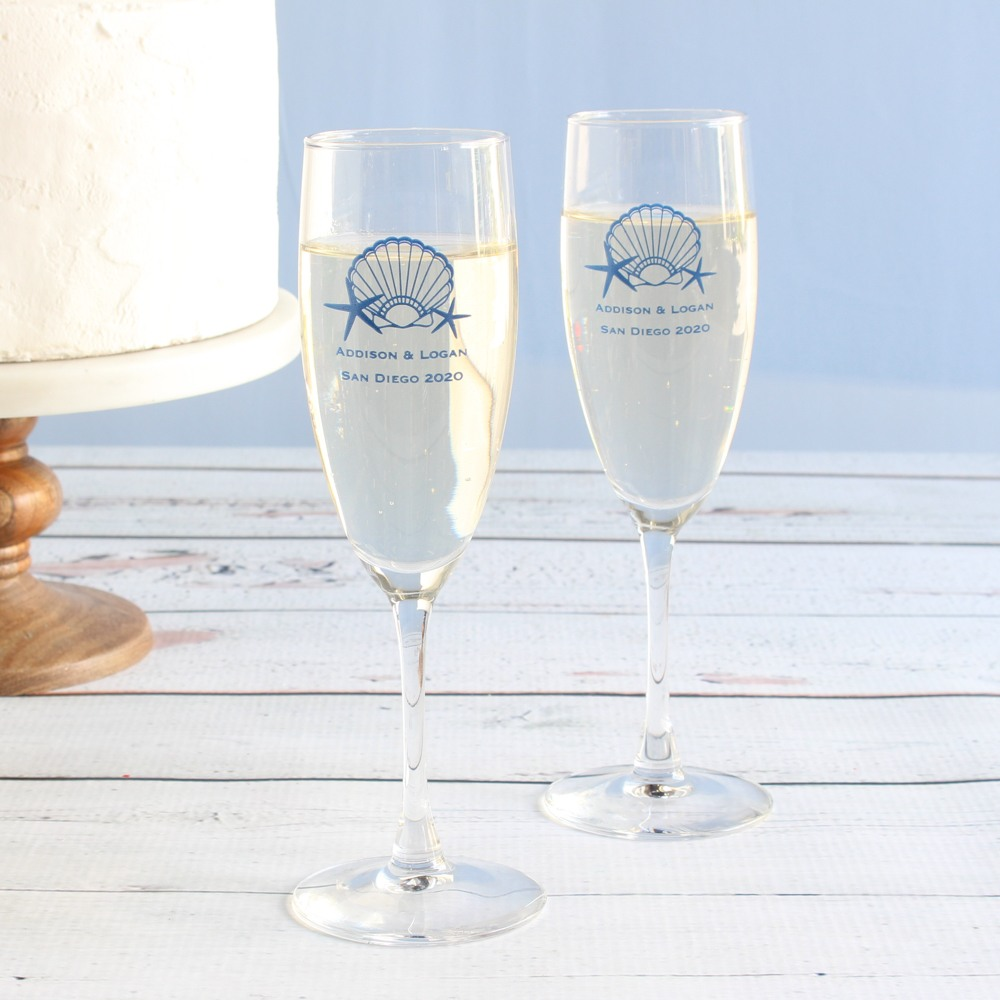Personalized Seashell Champagne Flute Favors