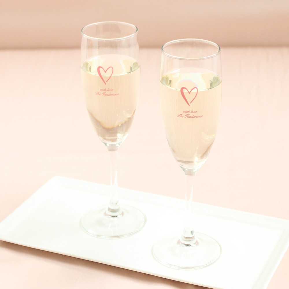 Personalized Heart Champagne Flute Favors