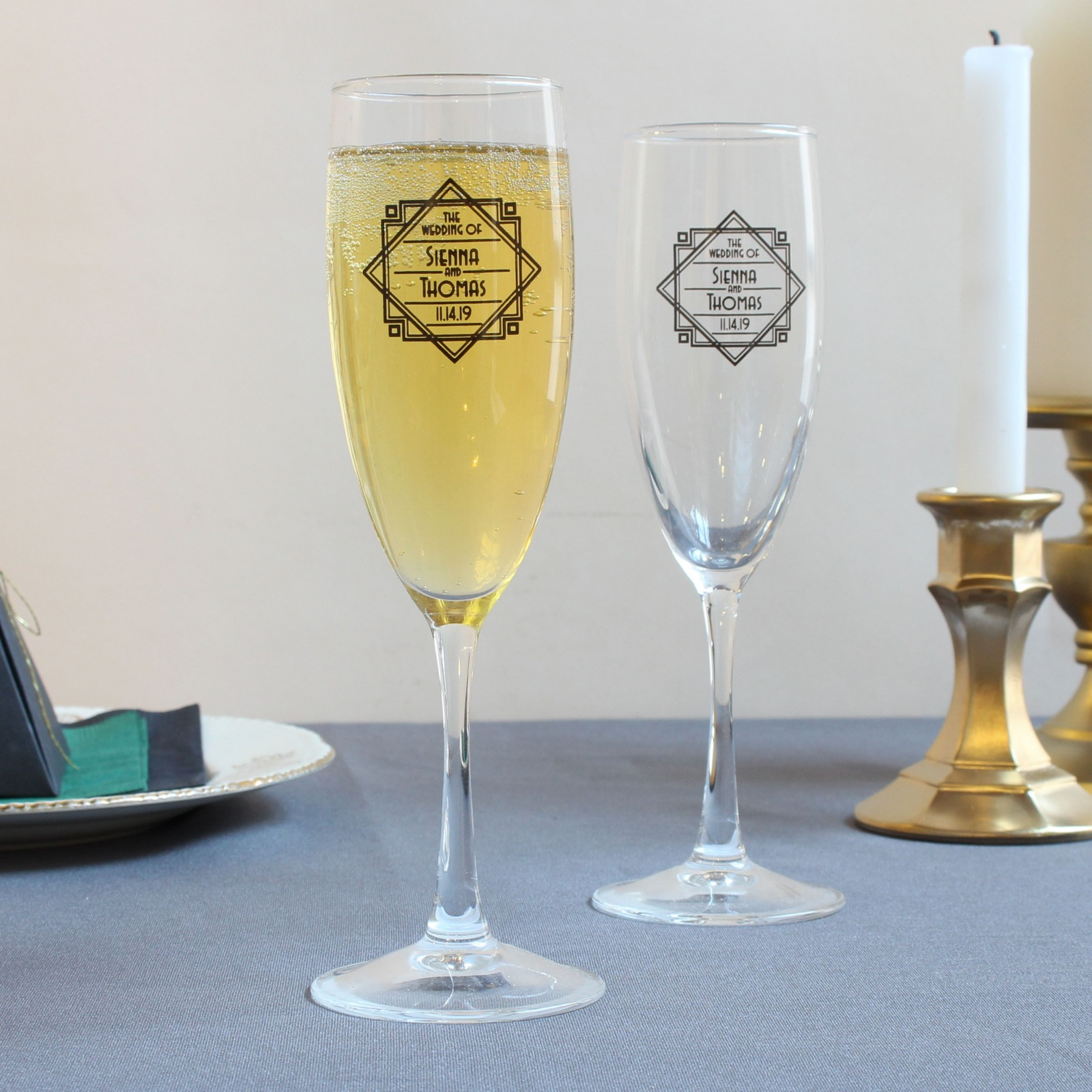 Personalized Modern Deco Champagne Flute Favors