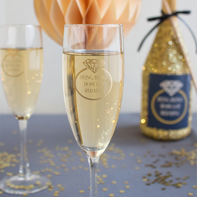 Personalized Ring Champagne Flute Favors