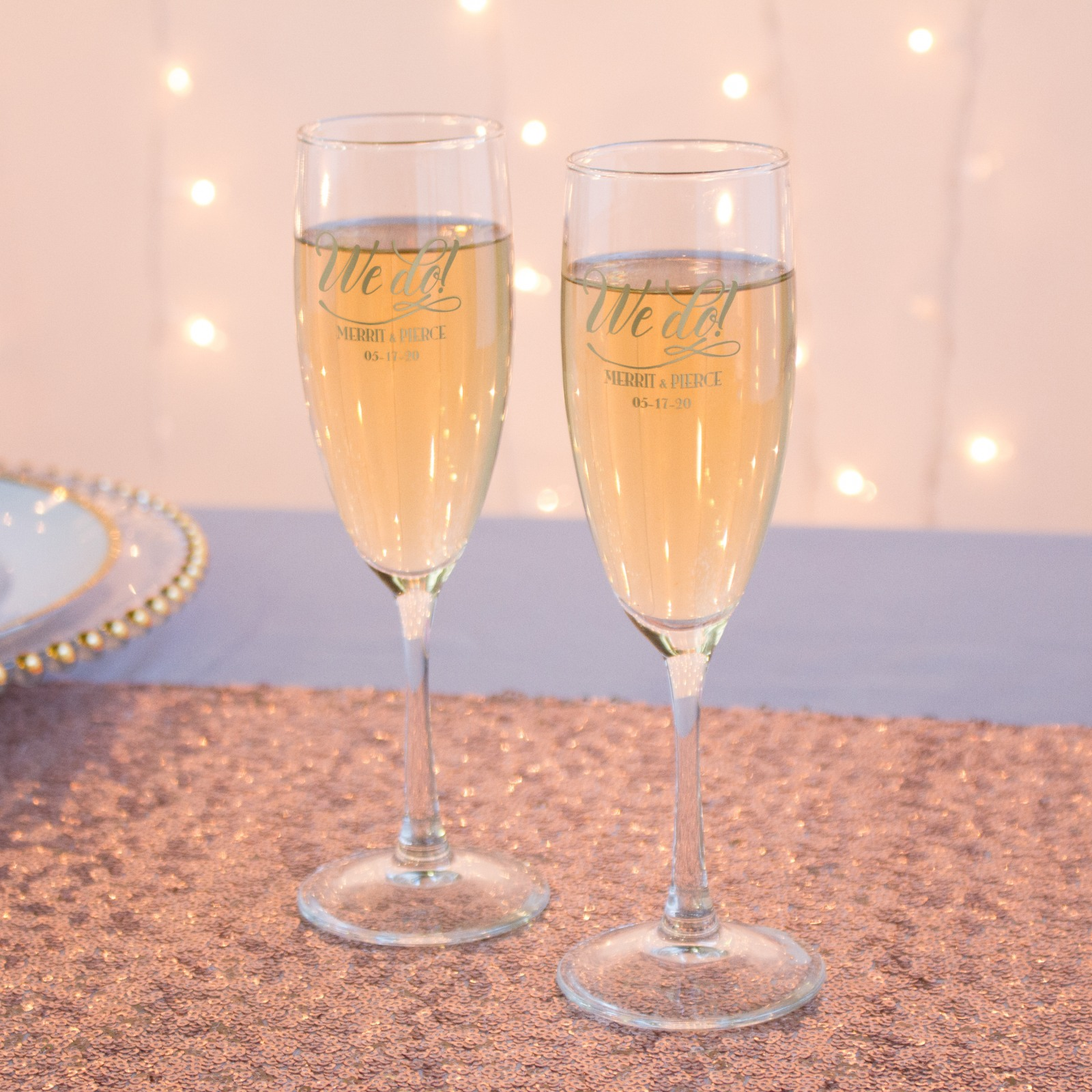 Personalized We Do Champagne Flute Favors