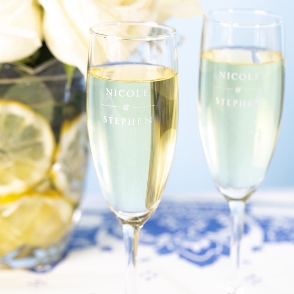 Personalized Citrus Garden Champagne Flute Favors