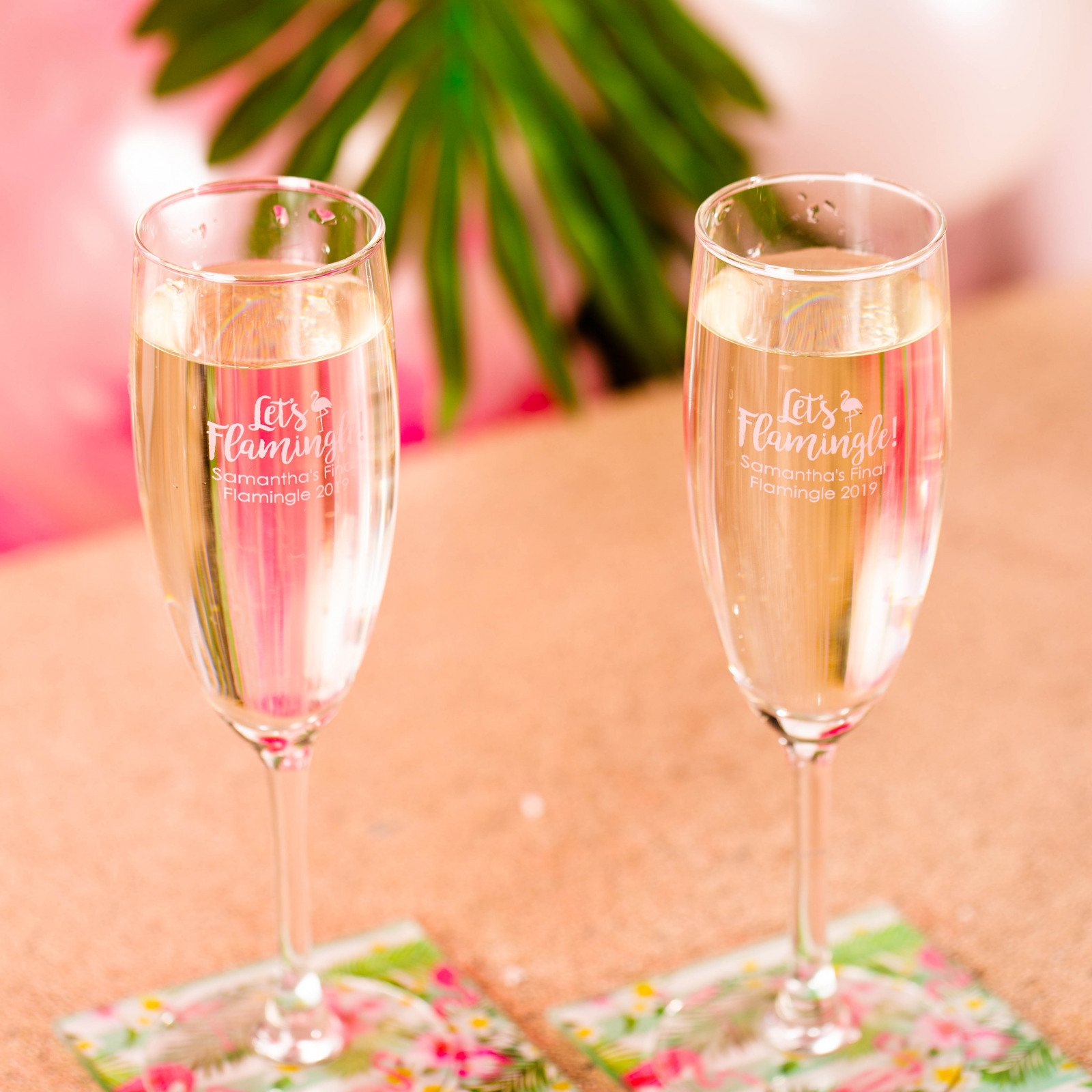 Personalized Let's Flamingle Champagne Flute Favors