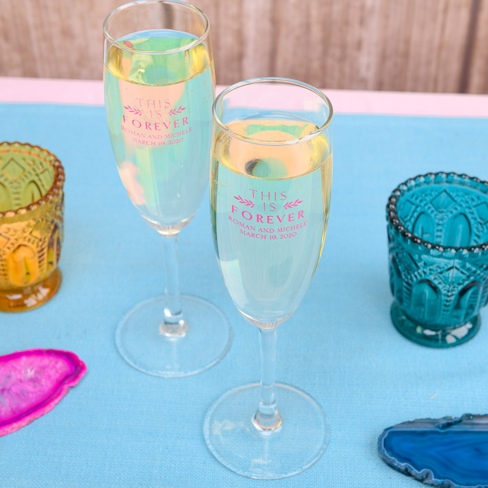 Personalized This is Forever Champagne Flute Favors