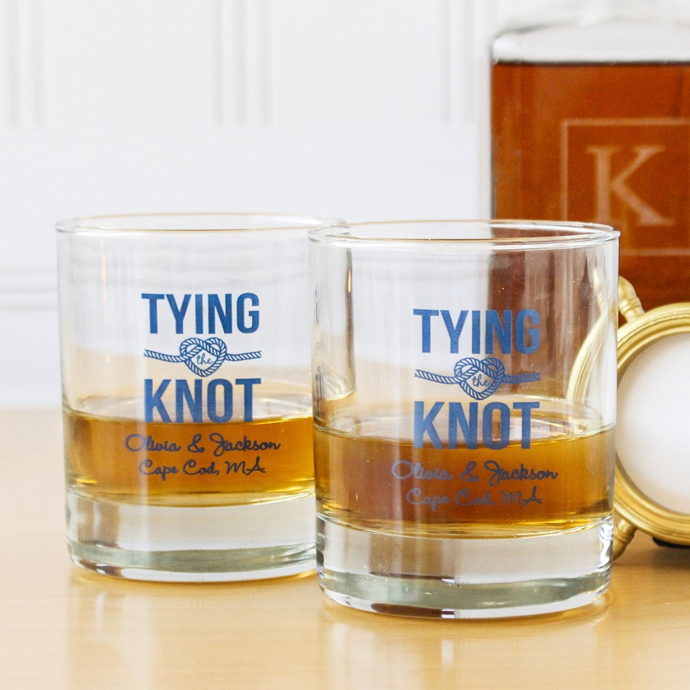 Personalized Tying the Knot Rock Glasses