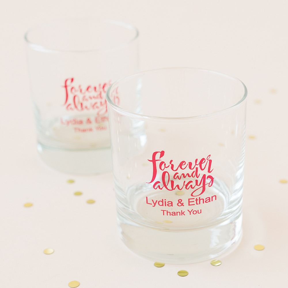 Personalized Forever and Always Rocks Glass