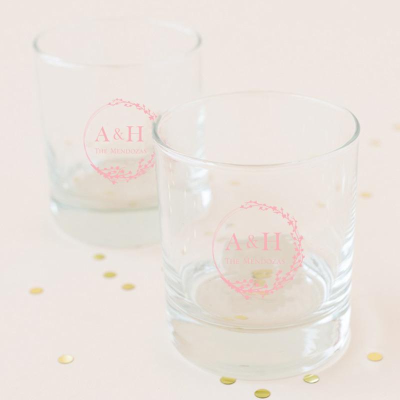 Personalized Cherry Blossom Rocks Glass
