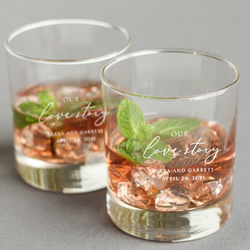 Personalized Our Love Story Rocks Glass