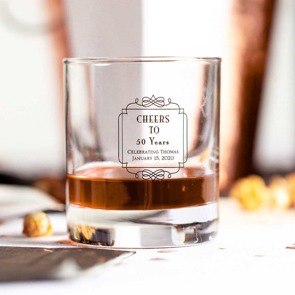 Personalized Vintage Cheers Birthday Rocks Glass