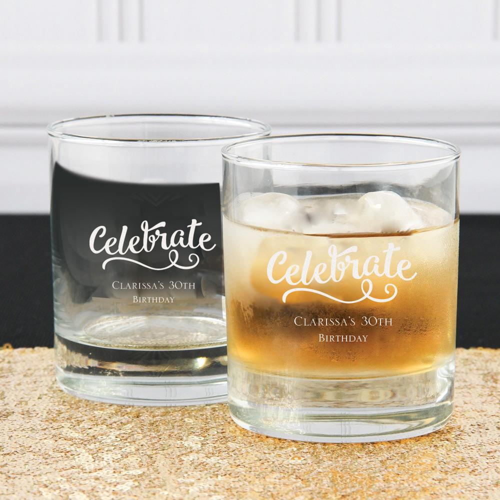 Personalized Celebrate Birthday Rocks Glass