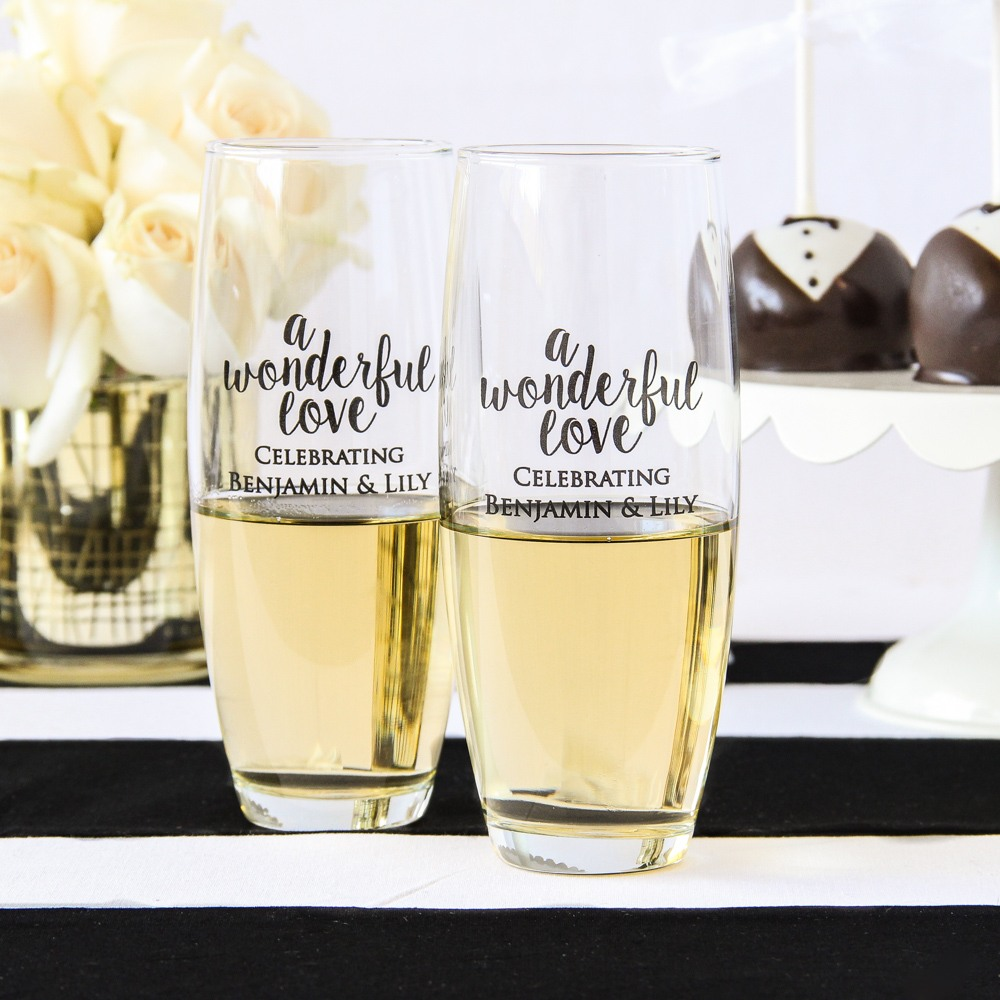 Personalized Wonderful Love Stemless Champagne Flutes
