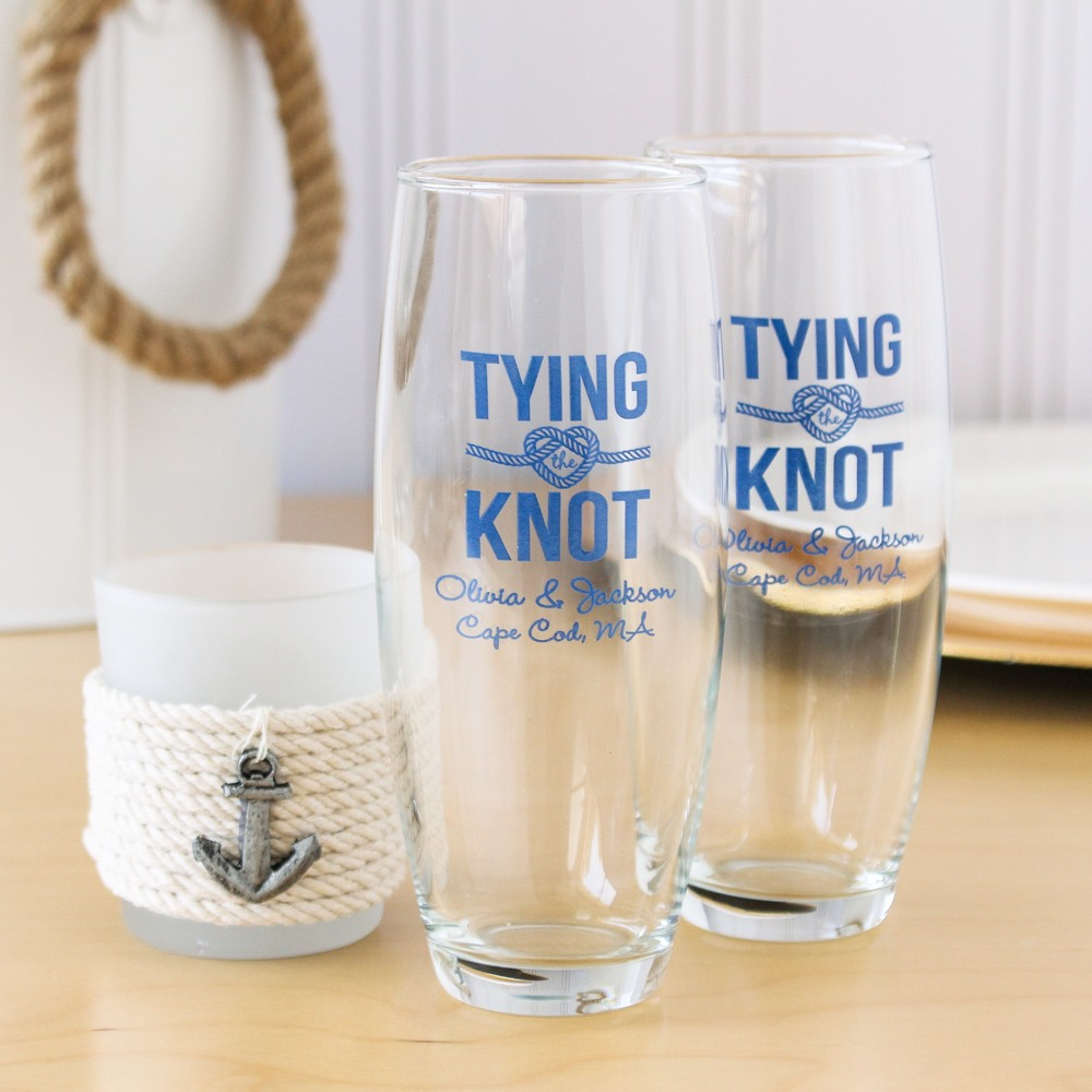 Personalized Tying the Knot Stemless Champagne Flutes