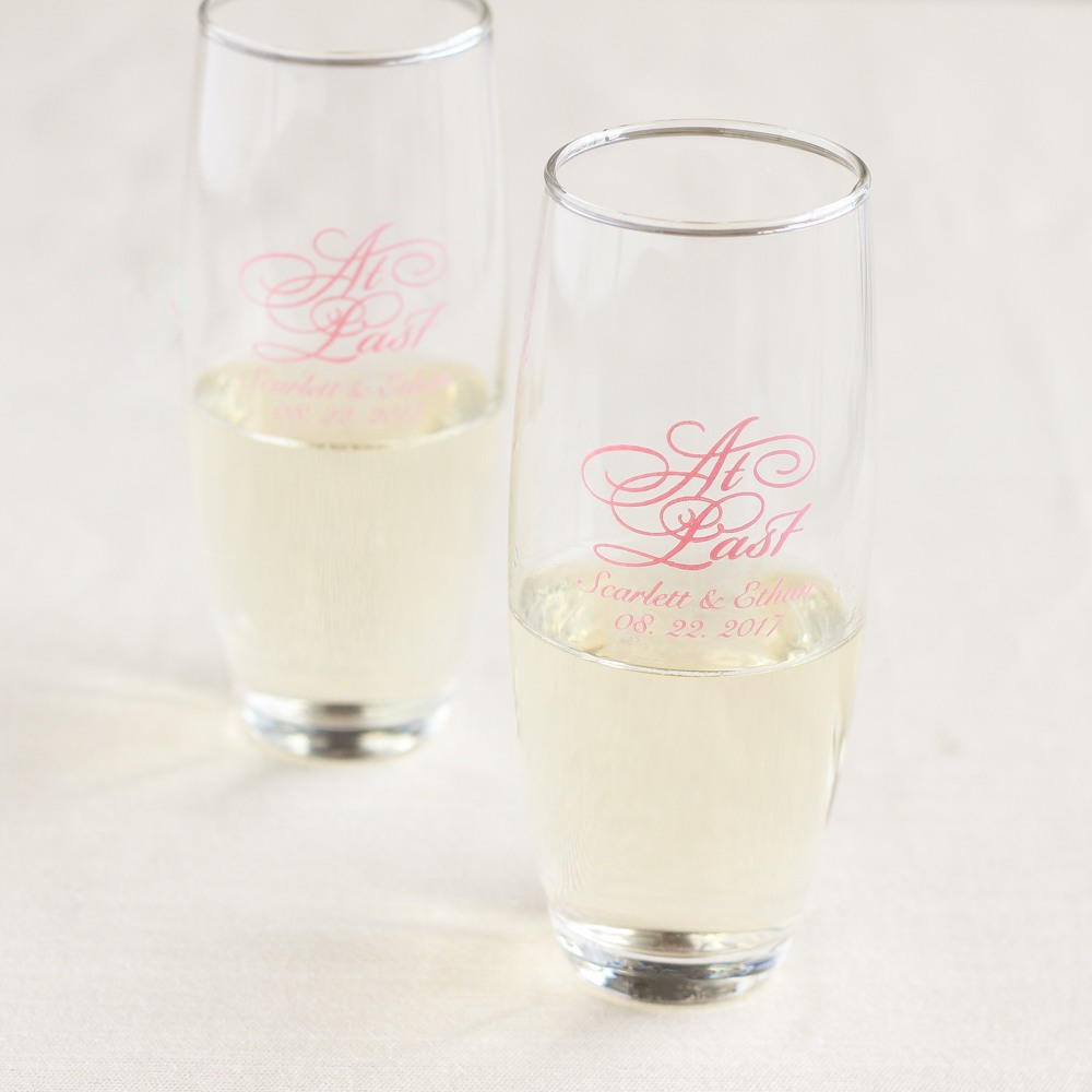 Personalized At Last Stemless Champagne Flutes