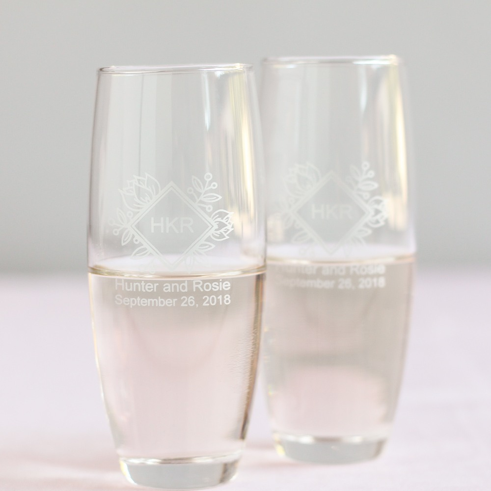 Personalized Floral Diamond Stemless Champagne Flute