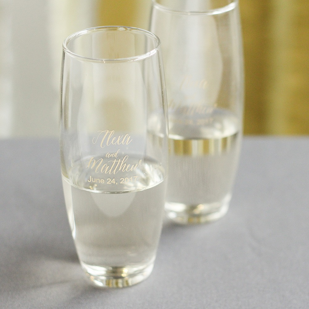 Personalized Modern Script Stemless Champagne Flute