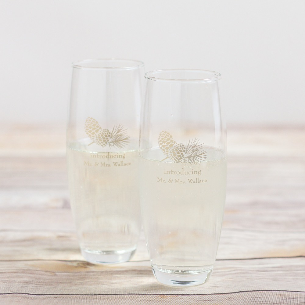 Personalized Pinecone Stemless Champagne Flutes