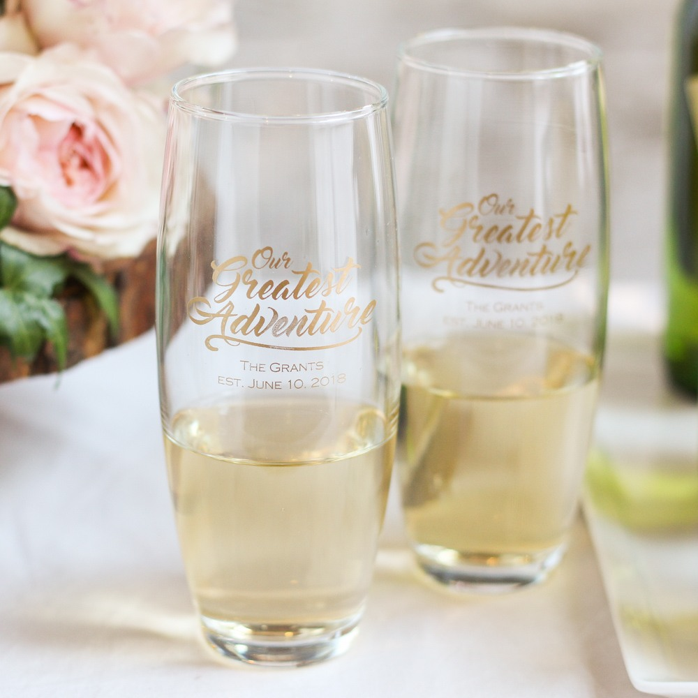 Personalized Greatest Adventure Stemless Champagne Flute