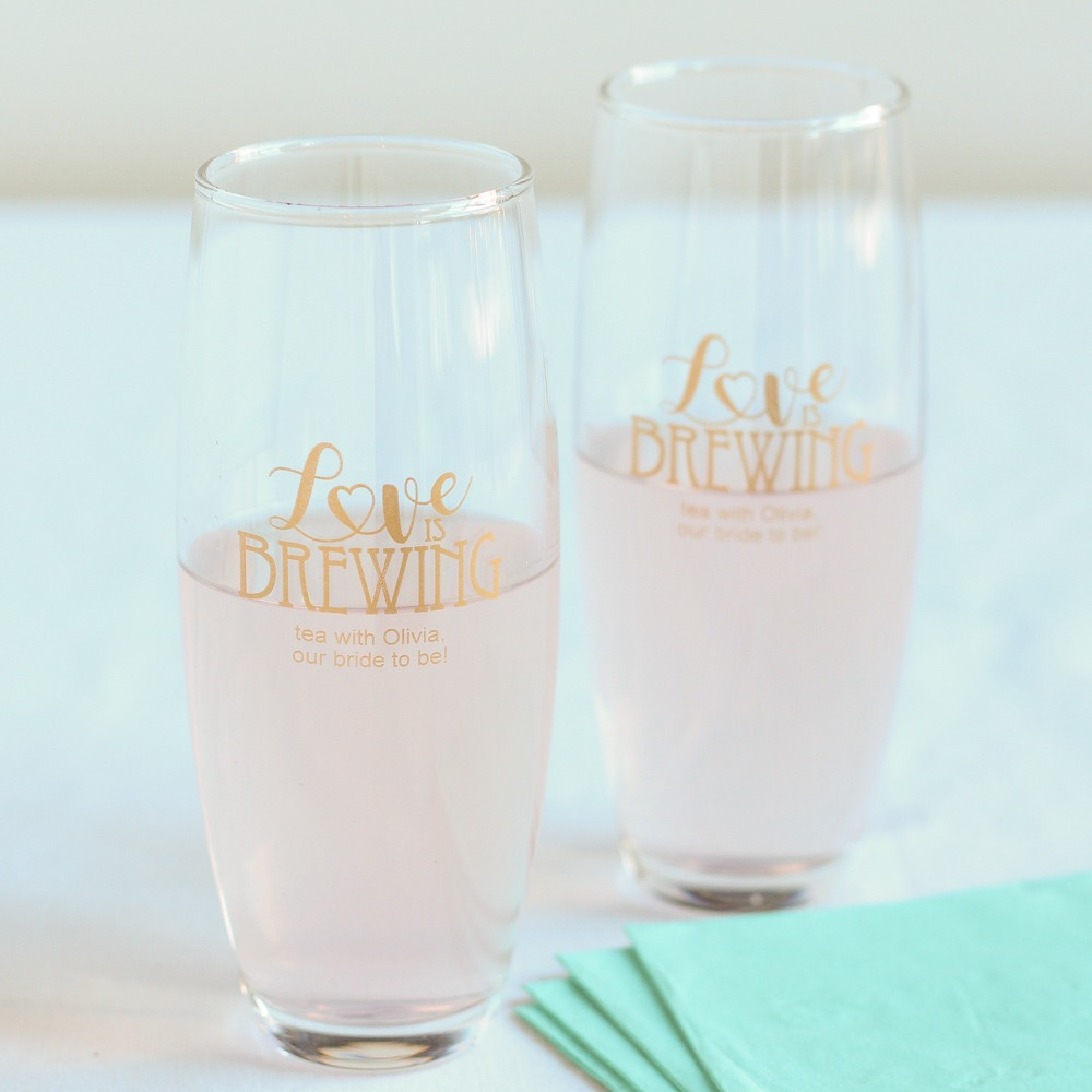Personalized Love is Brewing Stemless Champagne Flute