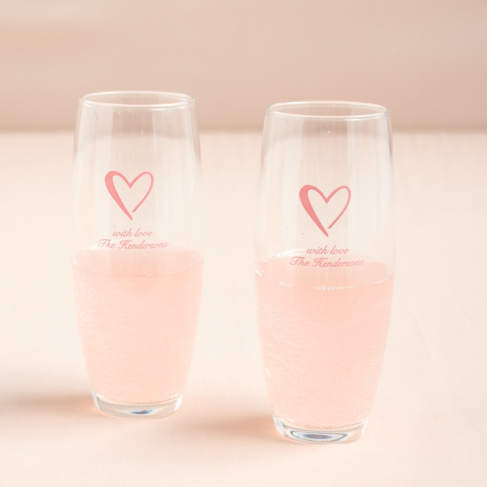 Personalized Heart Stemless Champagne Flute