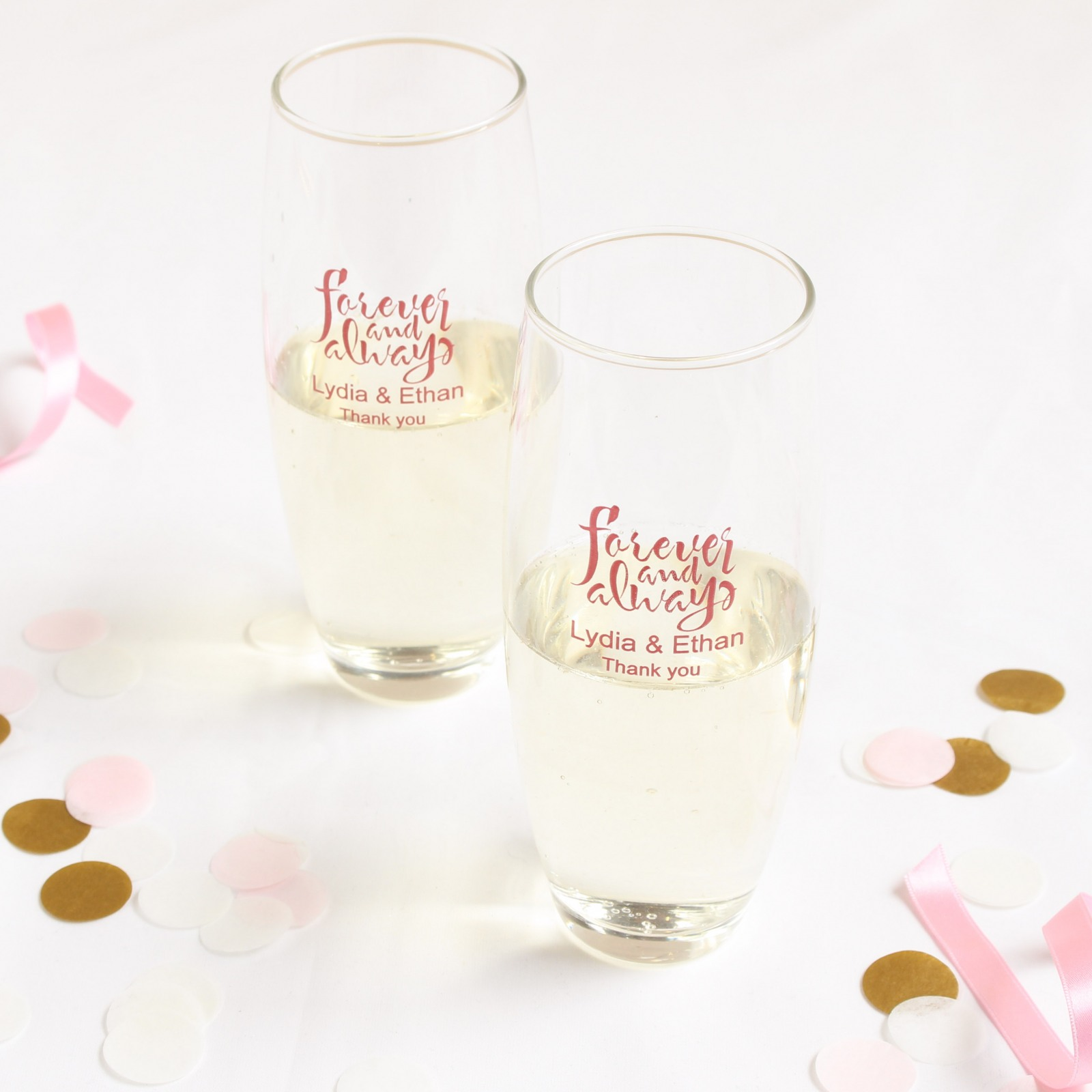 Personalized Forever Always Stemless Champagne Flutes