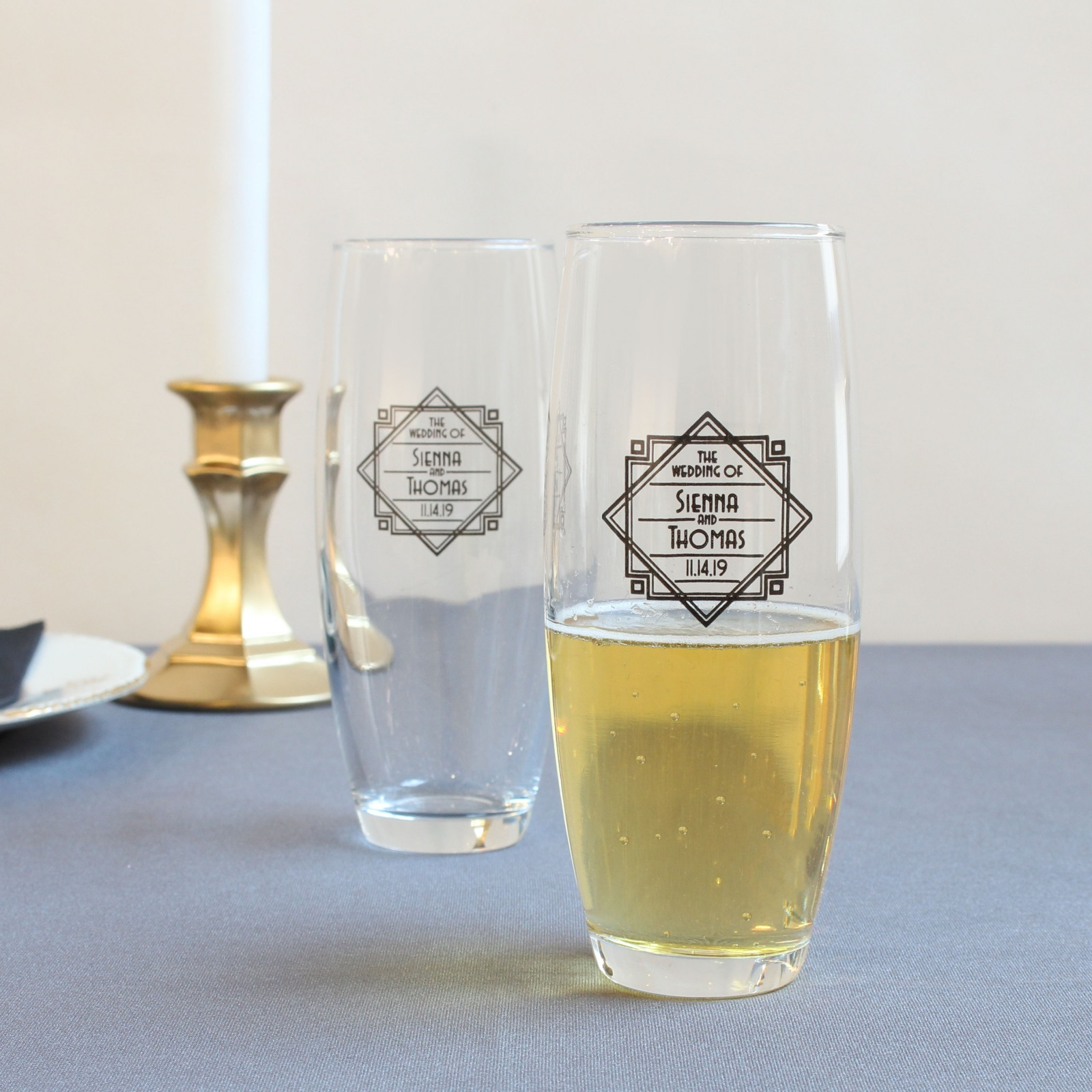 Personalized Modern Deco Stemless Champagne Flutes